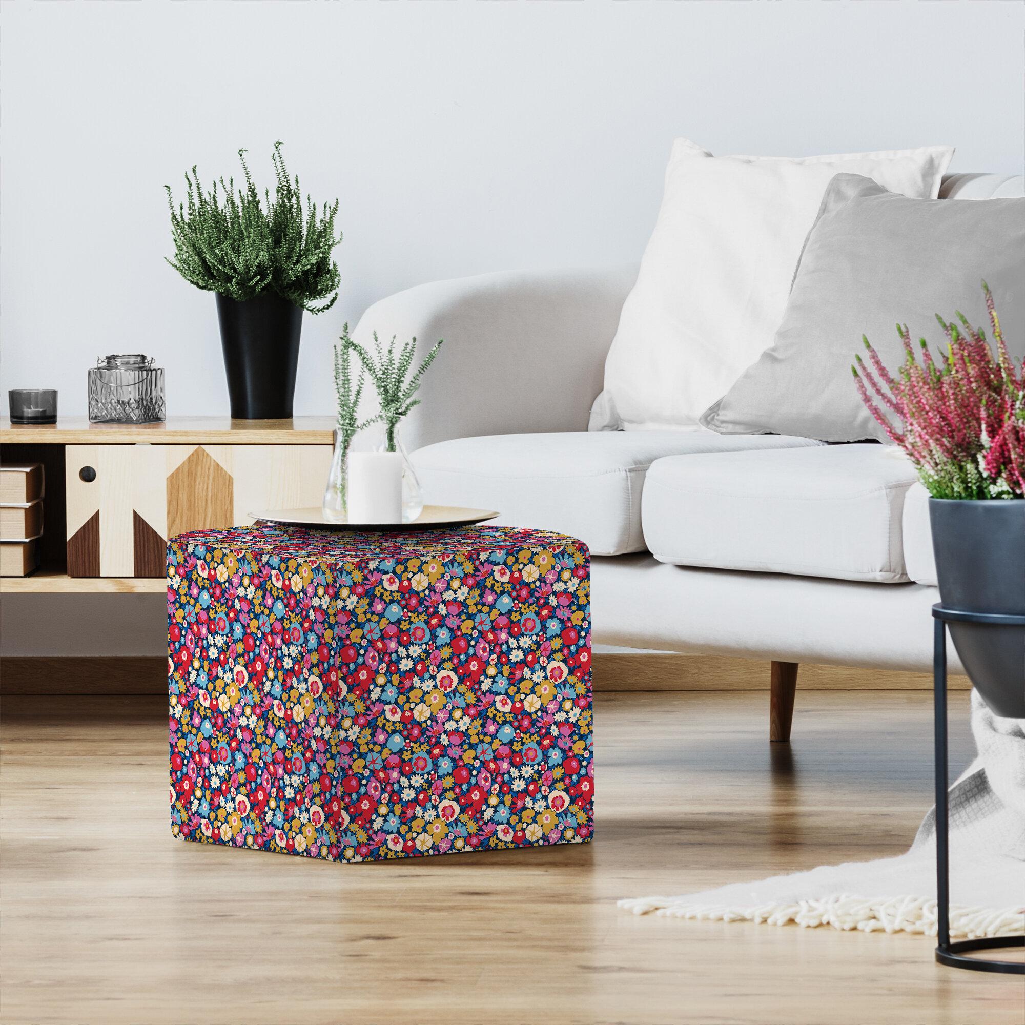 East Urban Home Rebecca Prinn Retro Blooms Standard Ottoman Wayfair