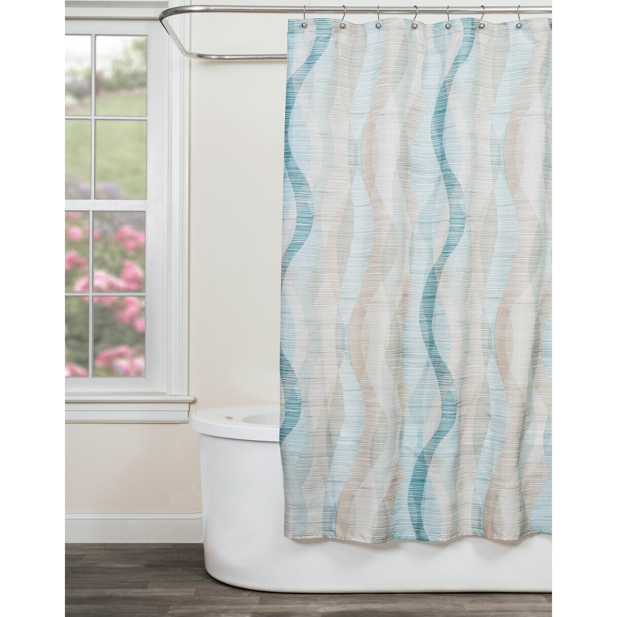Striped Shower Curtains Youll Love Wayfair - Brown and white striped shower curtain