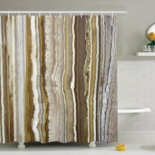 Onyx Marble Rock Themed Vertical Lines and Blurry Stripes in Earth Color Shower Curtain Set