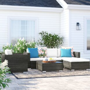 Carmelo 6 Piece Rattan Sectional Set with Cushions