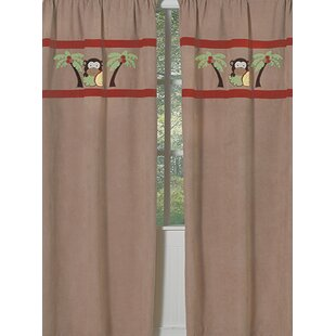 Monkey Wildlife Semi Sheer Rod Pocket Curtain Panels Set Of 2