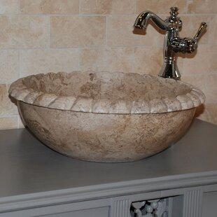 TashMart Rope Natural Stone Circular Vessel Bathroom Sink