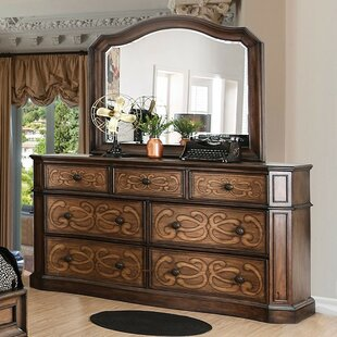 Gaskin 7 Drawer Double Dresser with Mirror