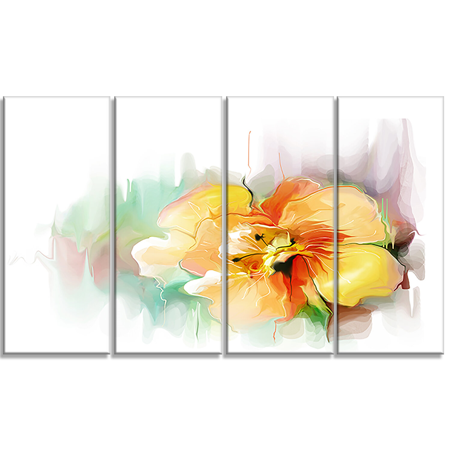Designart Beautiful Yellow Flower Drawing 4 Piece Painting Print