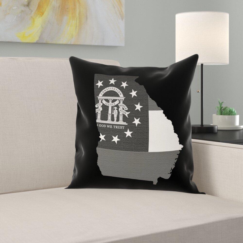 East Urban Home Brumit Georgia Flag Pillow In Faux Linen Double Sided Print Throw Pillow Wayfair