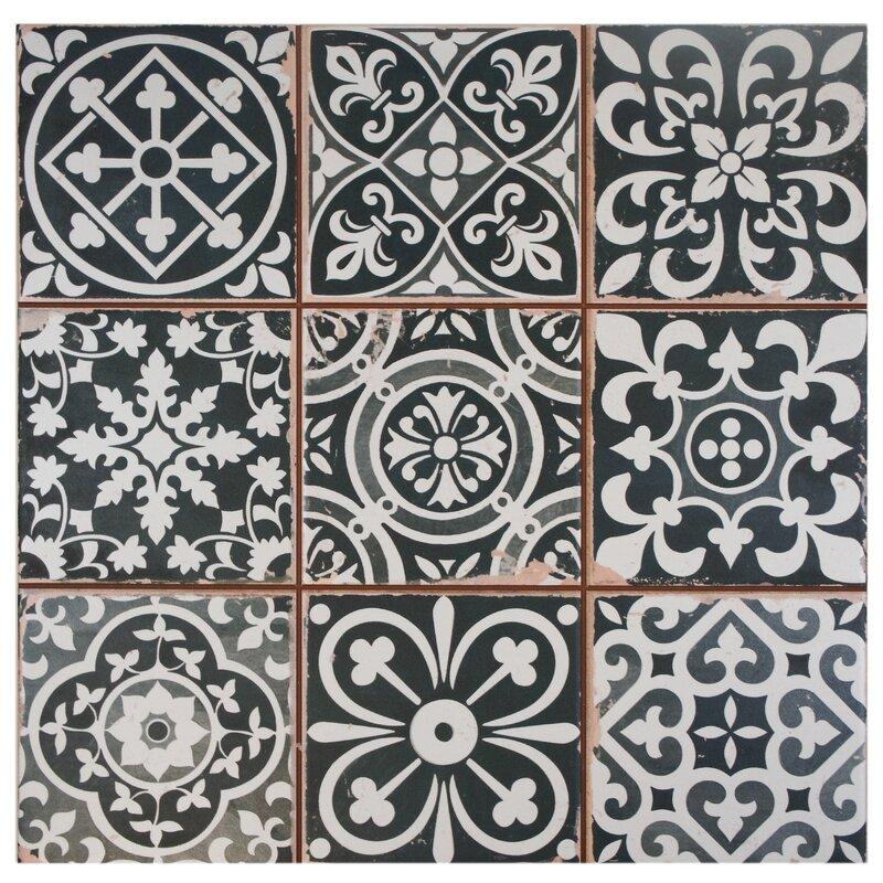 Faventie Nero 13 X Ceramic Field Tile In Black White