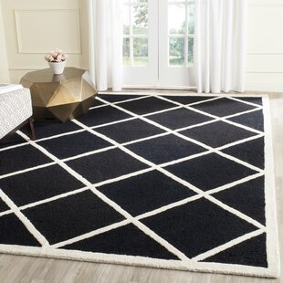 Top Reviews Martins Hand-Tufted Wool Black/White Area Rug By Wrought Studio
