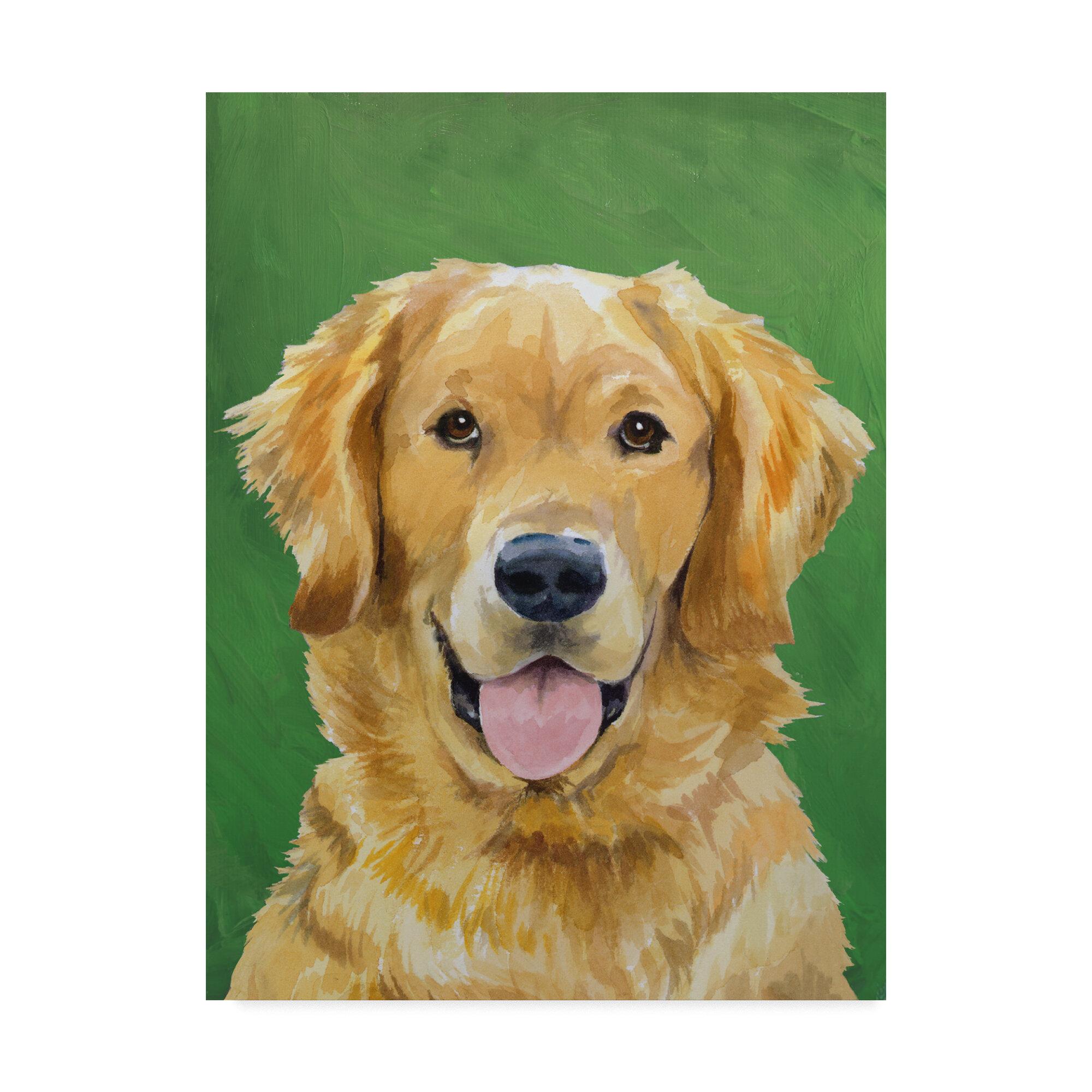 painted dog dog ceramic tile dog tile dog art yellow labrador golden retriever