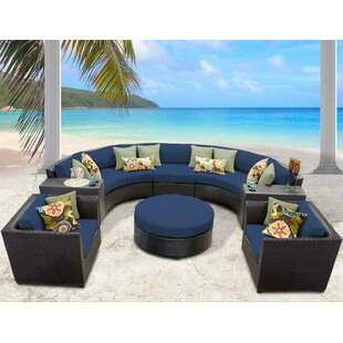 Barbados 8 Piece Rattan Sectional Set with Cushions by TK Classics