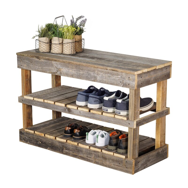 Magnificent Barnwood 8 Pair Shoe Storage Bench Gmtry Best Dining Table And Chair Ideas Images Gmtryco
