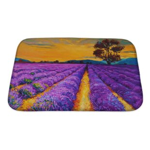 Landscapes Lavender Fields at Sunset, Modern Impressionism Bath Rug By Gear New