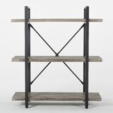 Ranallo 3-Tier Rustic Industrial Wood and Metal Etagere Bookcase by Union Rustic