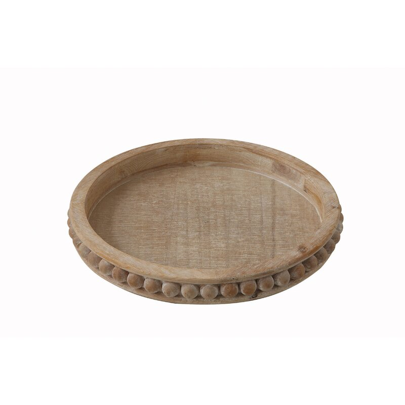 Brashear Round Wood Coffee Table Tray