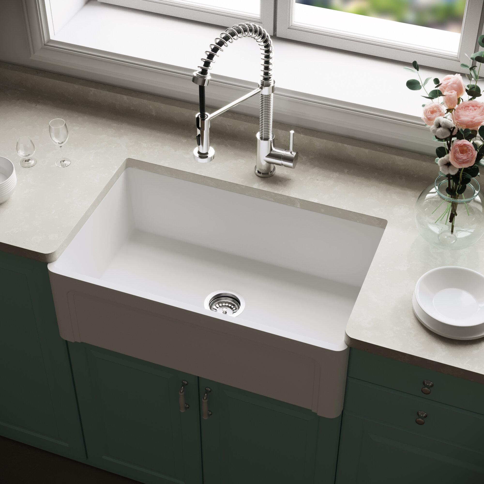 Vigo Matte Stone 30 X 18 Farmhouse Kitchen Sink Reviews Wayfair