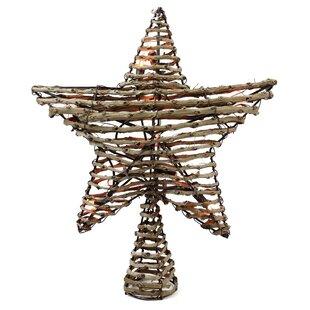 natural rattan star christmas tree topper - Lighted Star Christmas Tree Topper