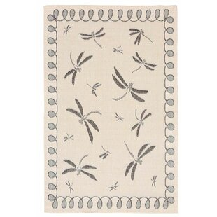 Dragonflies Beige/Black Indoor/Outdoor Area Rug By Plow & Hearth