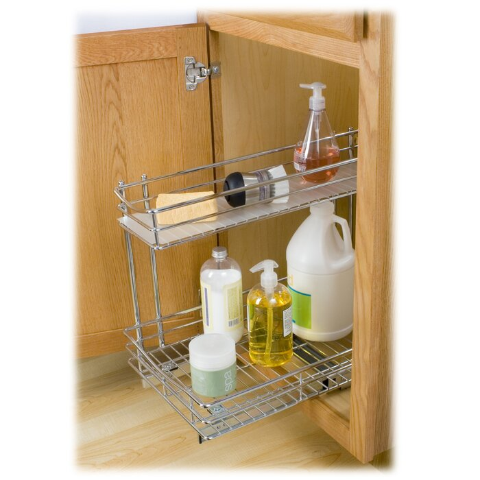 High Quality Roll Out Under Sink Cabinet Organizer   Pull Out Two Tier Sliding Shelf    11.5 In