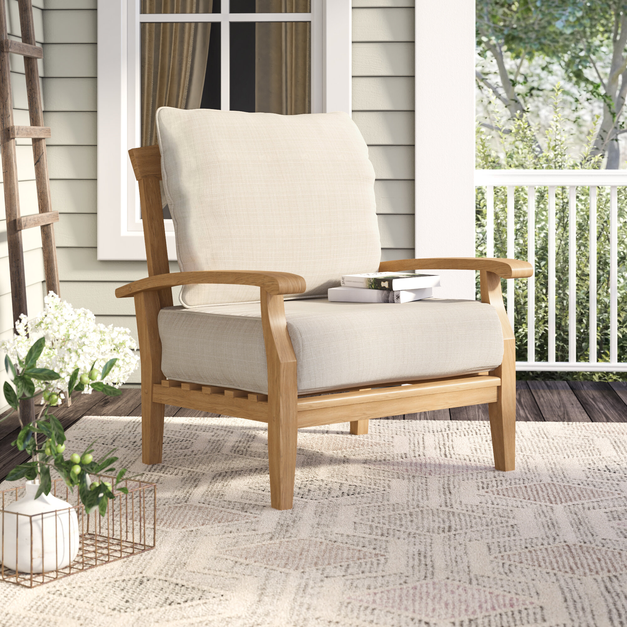 Summerton Teak Patio Chair With Cushions Reviews Birch Lane
