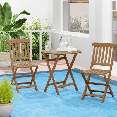 Bucksport 3 Piece Teak Bistro Set by Beachcrest Home Today Only Sale