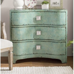Mendon Port Crackle Bombe 3 Drawers Accent Chest by Bungalow Rose