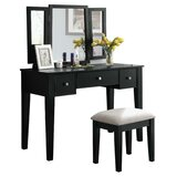 Orrington Wooden Vanity Set with Stool and Mirror by Red Barrel Studio®