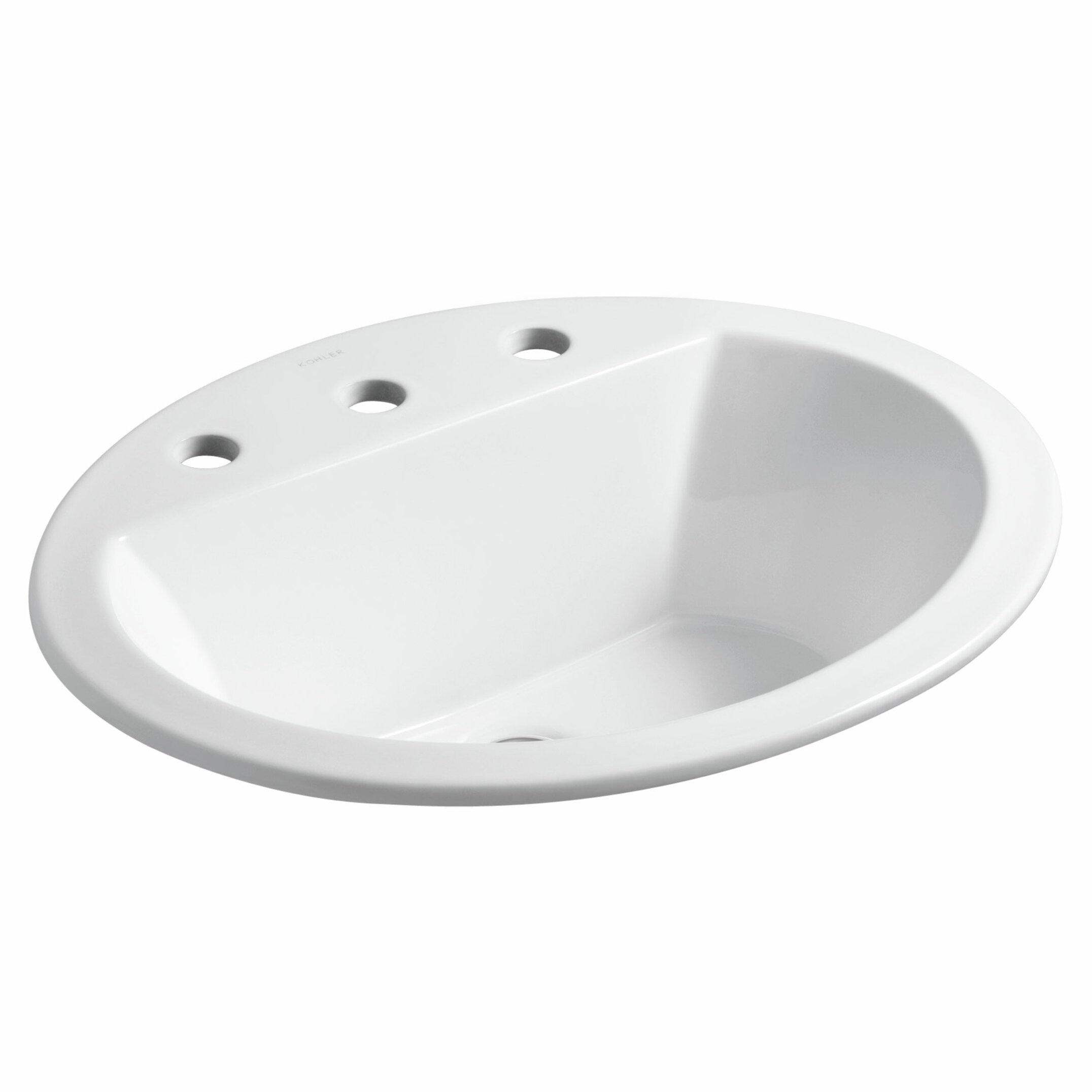 K 2699 8 0 33 95 Kohler Bryant Ceramic Oval Drop In Bathroom Sink With Overflow Reviews Wayfair