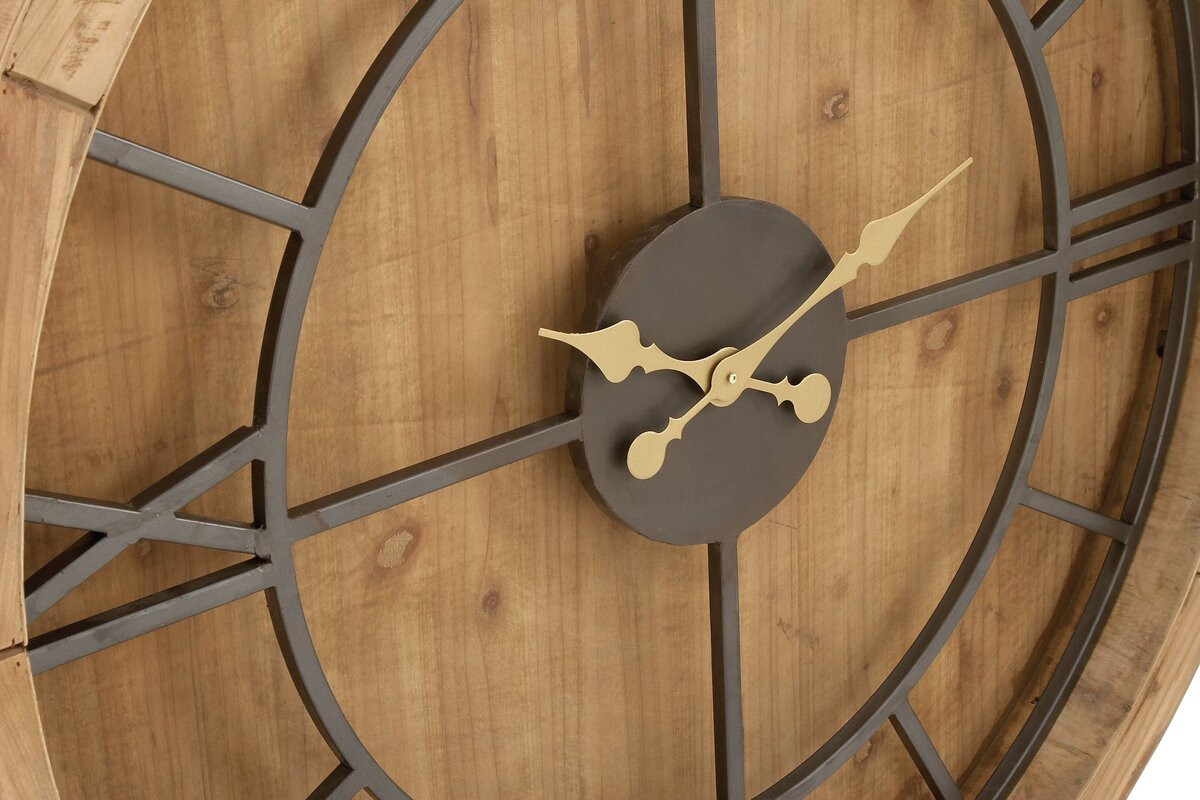 Oversized Wood And Metal 40 Wall Clock