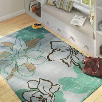 Ivy Bronx Dossantos Abstract Gray Cobalt Blue Turquoise Indoor Outdoor Area Rug Reviews Wayfair