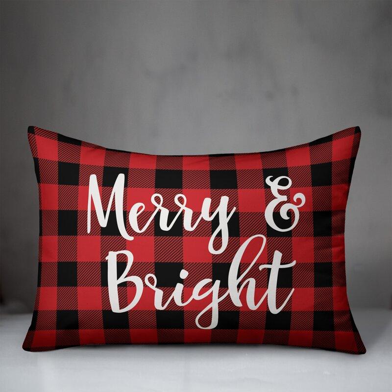 The Holiday Aisle Danita Merry Bright In Buffalo Check Plaid Lumbar Pillow Wayfair