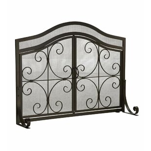 Large Crest 2 Panel Steel Fireplace Screen by Plow & Hearth