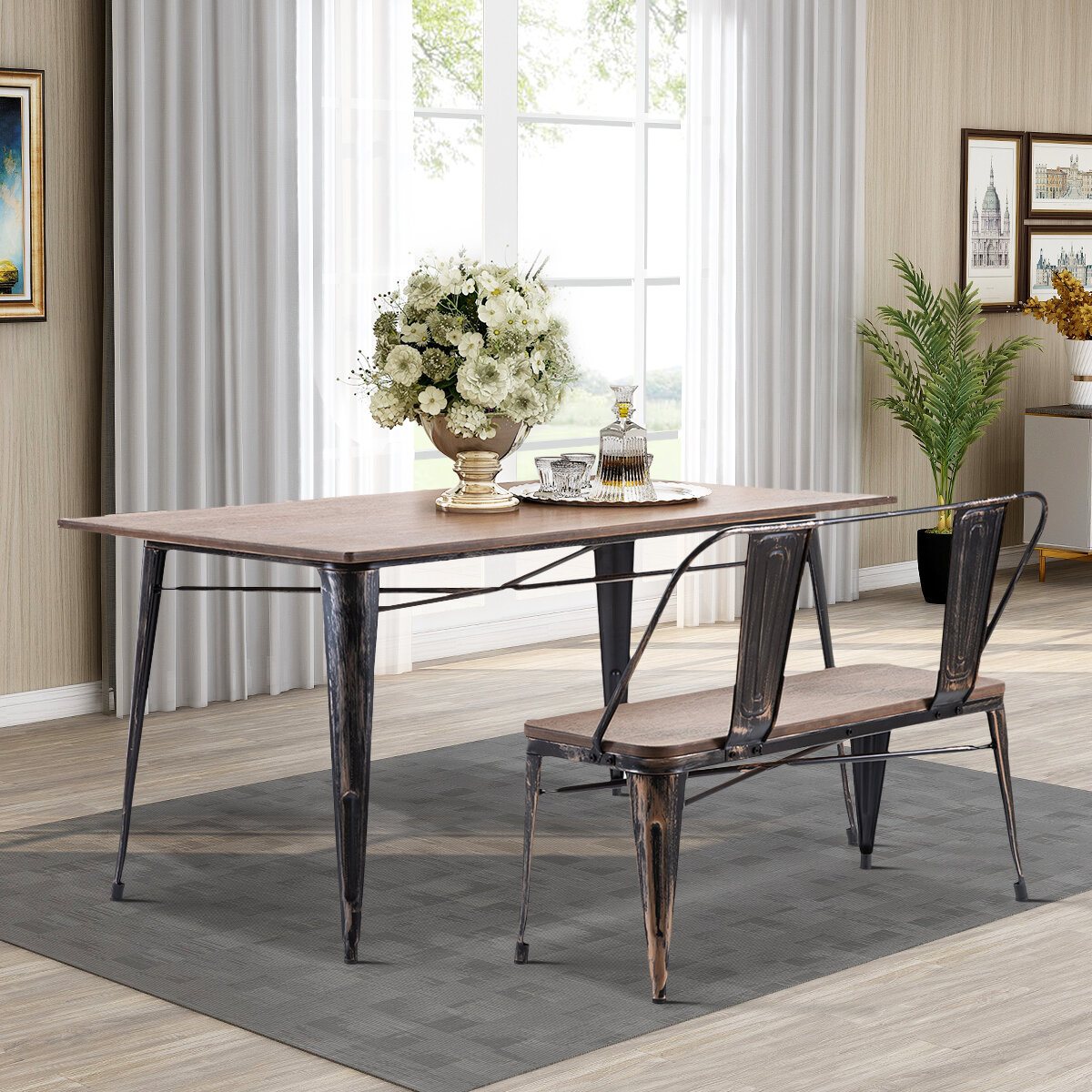 Williston Forge Antique Style Dining Set Rustic Vintage Style Rectangular Dining Table And Bench With Metal Backrest Legs Wooden Seat Panel Distressed Black Wayfair Ca