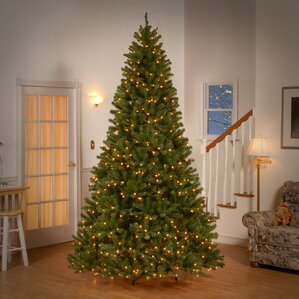 spruce artificial christmas tree with clear lights - Pre Lighted Christmas Trees
