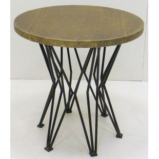Caines Iron and Wood End Table by Gracie Oaks