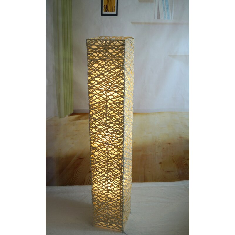 Rectangle Bamboo Woven 52 Led Column Floor Lamp