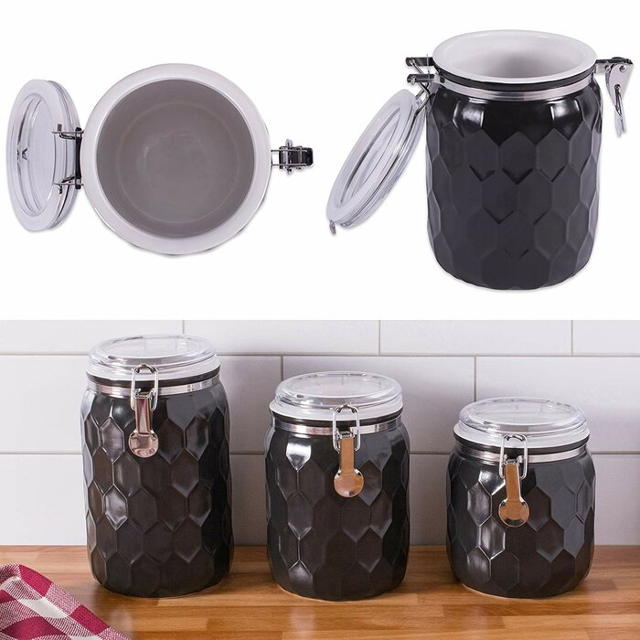 Honeycomb 3 Piece Kitchen Canister Set