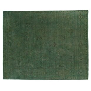 Overdyed HandKnotted Wool Green Area Rug