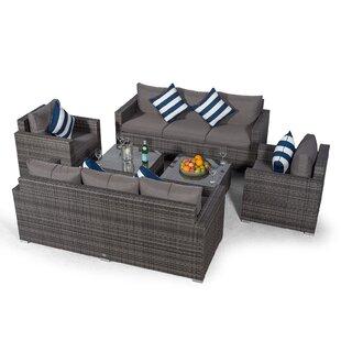 Villatoro Grey Rattan 2 X 3 Seat Sofa + 2 X Armchairs & 2 X Square Coffee Table, Outdoor Patio Garden Furniture By Sol 72 Outdoor