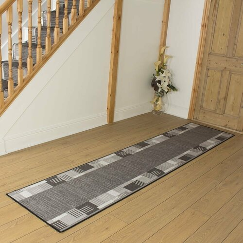 Bale Looped/Hooked Graphite Hallway Runner Rug ClassicLiving