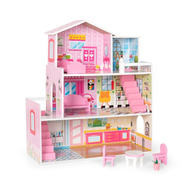 Robotime Wooden Dollhouse With Furniture Doll House Playset For Kids Girls Gift For Ages 3 Years Wayfair