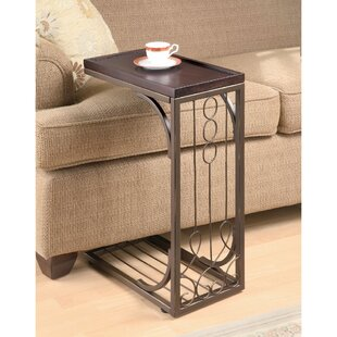 Clausen Wood and Metal Snack End Table by Fleur De Lis Living