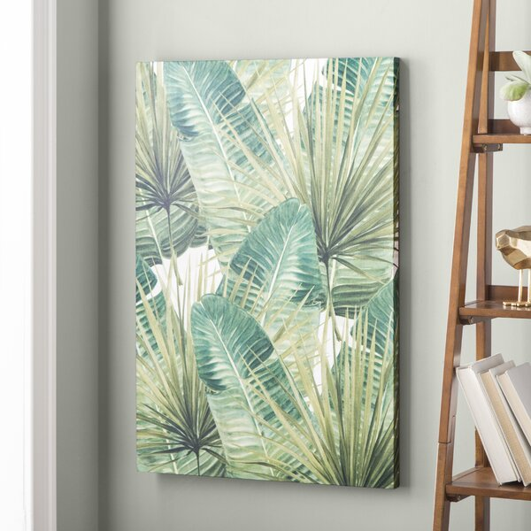 'Green Palm Leaves' Green Wall Decorations - Nature Canvas