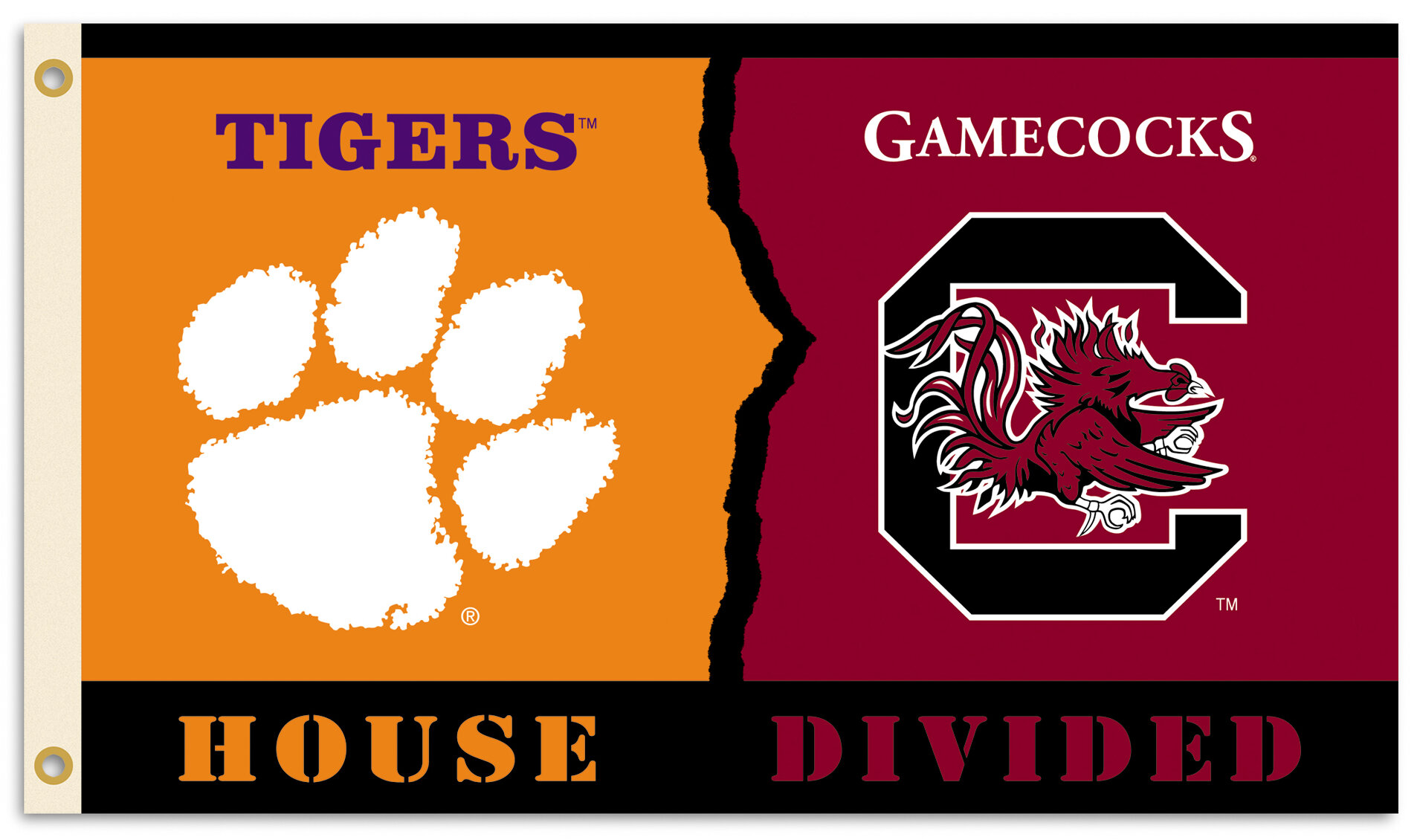Team Pro Mark Ncaa Rivalry House Divided 2 Sided Polyester 36 X 60 In House Flag Wayfair