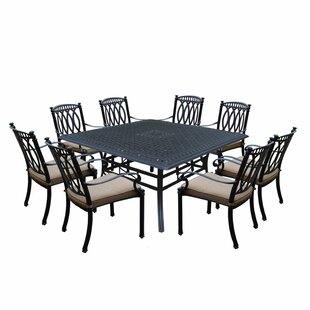 Otsego 9 Piece Cast Aluminum Dining Set with Cushions
