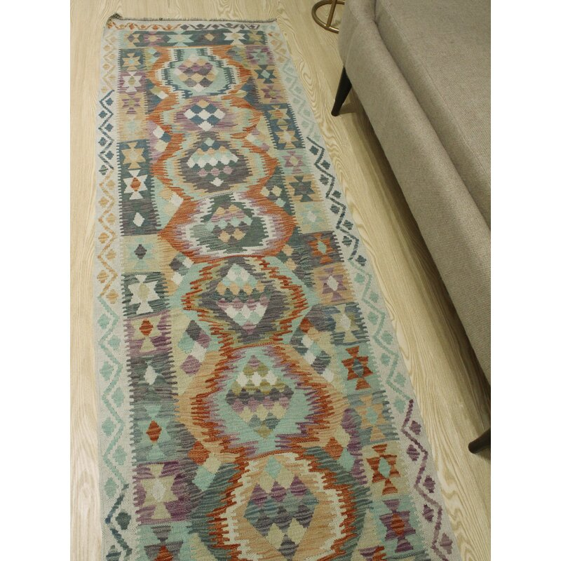 Foundry Select Runner Hults Southwestern Hand Woven Wool Blue Area Rug Wayfair