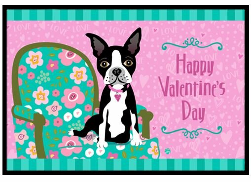 Happy Valentineu0027s Day Boston Terrier Doormat