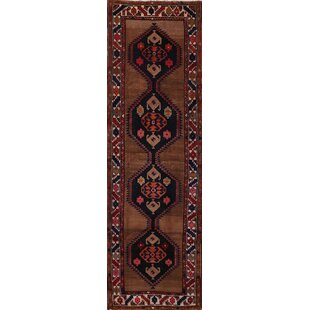 One-of-a-Kind Kowalewski Meshkin Persian Hand-Knotted Runner 4'2 x 13'3 Wool Brown/Black Area Rug Isabelline