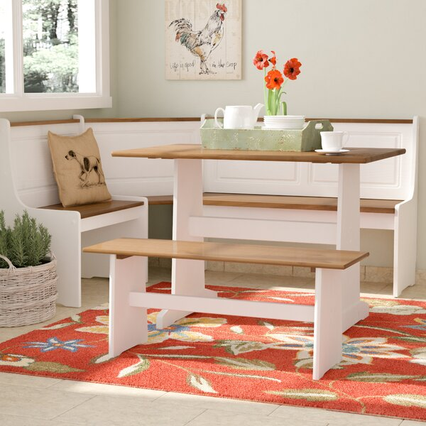 August Grove Birtie 3 Piece Solid Wood Breakfast Nook Dining Set