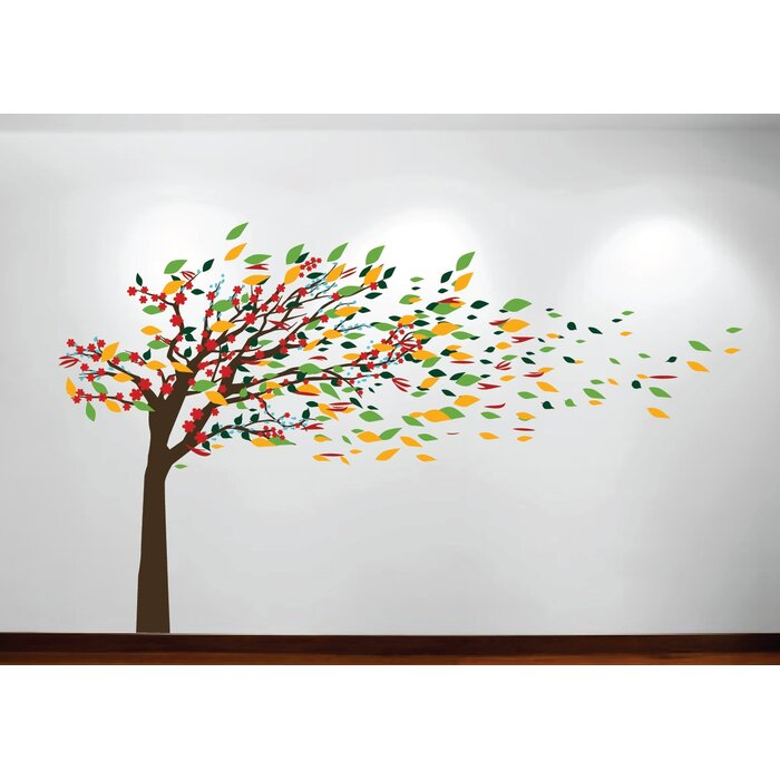 Wind Blowing Tree Cherry Blossom Nursery Wall Decal Part 74