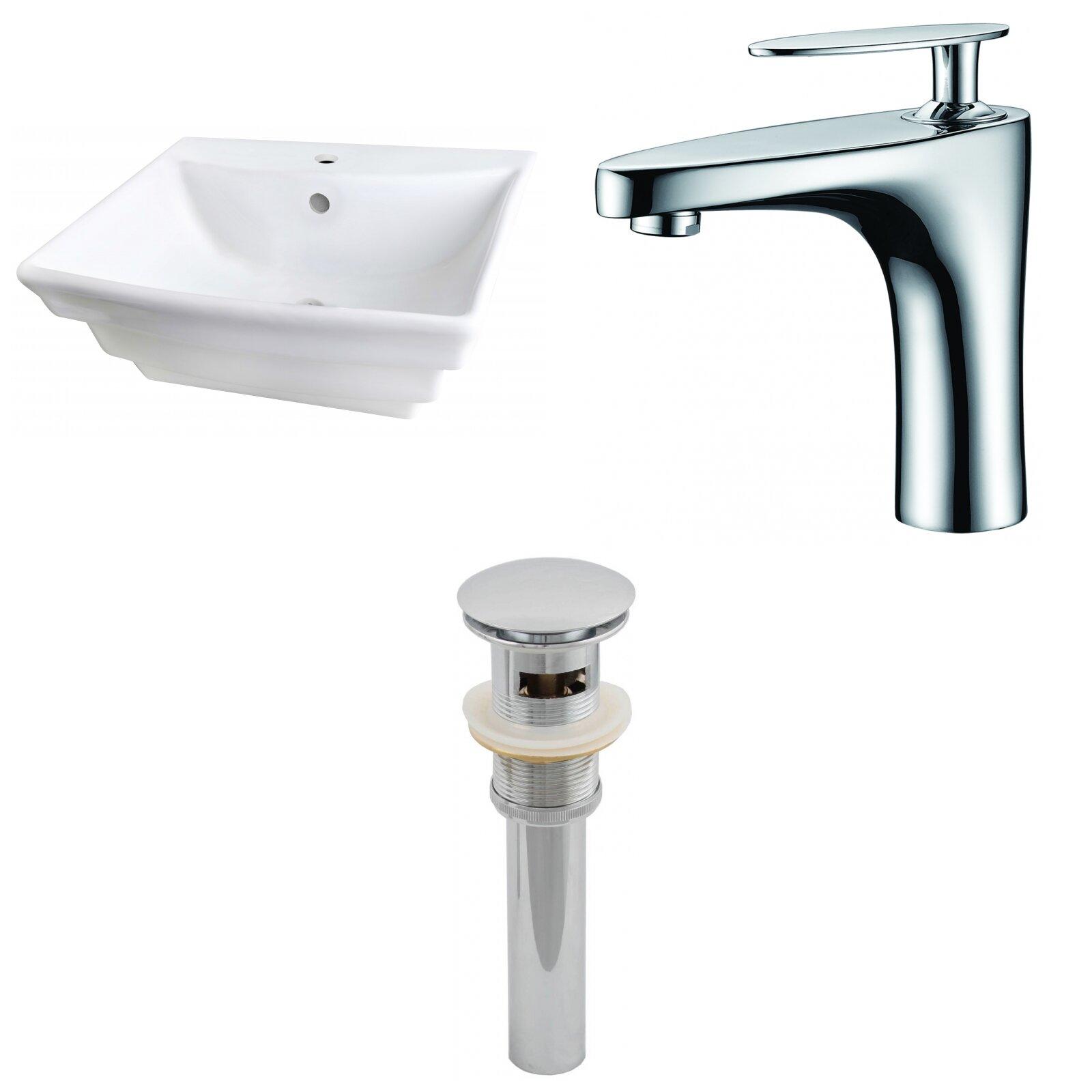 Avanities Ceramic 20 Wall Mount Bathroom Sink With Faucet And Overflow Wayfair