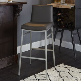 Thurlow Upholstered Square Back Metal 29 Bar Stool Orren Ellis